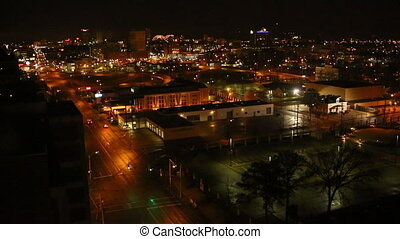 Memphis Night Aerial Time-lapse - Time-lapse into Memphis...