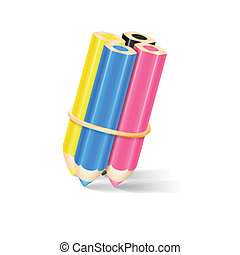 CMYK Pencils With Rubber Band. Vector Illustration