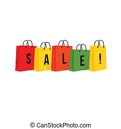 Shopping Bags. Sale. Isolated On White. Vector Illustration
