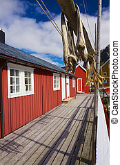 Nusfjord in Norway - Traditional fishing hut and dried stock...