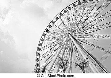 Big ferris wheel against blue sky.Processed with black and...