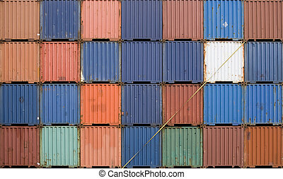 Stacked containers  - Stacked shipping containers