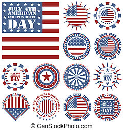 Independence Day - 4 of July - Vector set of design elements
