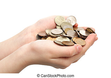 Handful of coins in childrens palms are isolated on a white...