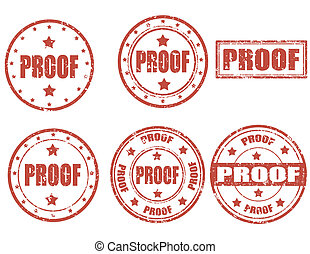 Proof - stamp - Set of grunge rubber stamps with word proof...