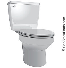Toilet bowl to restroom with the lid down Vector...