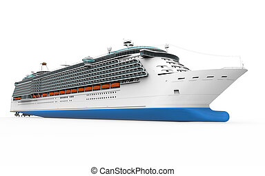 Luxury Cruise Ship isolated on white background. 3D render
