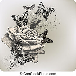 Background with rose and butterflies flying. Vector illustration.