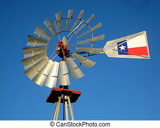Windmill - A windmill against the blue Texas sky