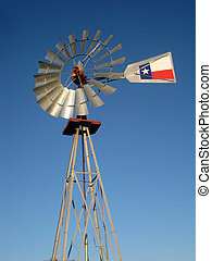 Windmill - A windmill against the blue Texas sky.
