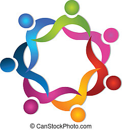 Teamwork 7 people colorful logo vector