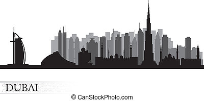 Dubai city skyline silhouette - Dubai city skyline Vector...