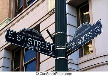 6th Street in Austin Texa - The 6th Street road sign. 6th...