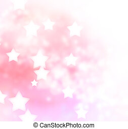 Pink, Peach Star Lights Background - Abstract pink, peach...