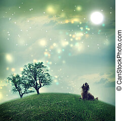 Dachshund dog in a magical landscape