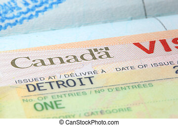 Canada visa - Close up shot of Canadian visa stamp