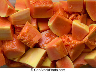 Cut Papaya fruit - Cut pieces of healthy Papaya fruit