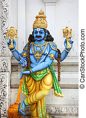 Lord Vishnu - Colorful hindu god lord Vishnu statue on...