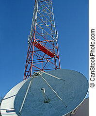 Satellite Dish and Radio - A satellite dish and radio tower...