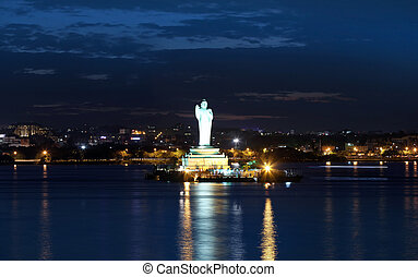 Buddha statue in Hyderabad - HYDERABAD,INDIA -August 31:...