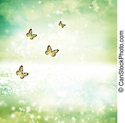 Butterflies on fantasy lake - Paper Kite butterflies on a...