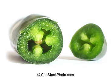 Jalapeno pepper - Cut Jalapeno pepper on white background