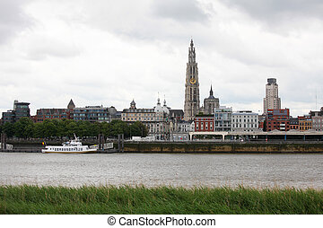 Antwerp - Skyline of Antwerp with the Cathedral of Our Lady...