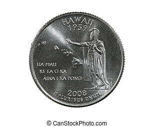 Hawaii State Quarter - Hawaii State US Quarter isolated on...