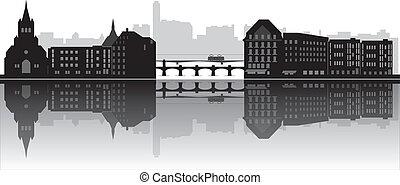 basel skyline switzerland with bridge and houses