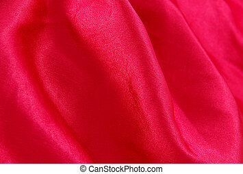 scarlet red satin silk fabric texture with folds
