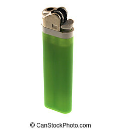 Green Lighter - a green disposable lighter isolated on a...
