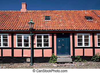 Pink half-timbered house in Roenne on Bornholm
