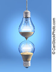 Hourglass lightbulb - Incandescent light bulbs filled with...