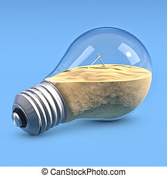 LightBulb with sand - Incandescent light bulb filled with...