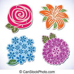 Four flowers - Vector illustration of four flowers rose,...