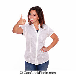 Charming young woman gesturing positive sign - Portrait of a...