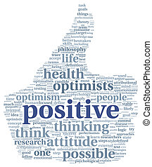Positive concept in tag cloud - Positive and mindset concept...