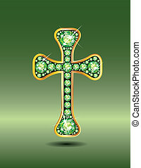 Christian Cross in Gold and Peridot - Stunning Christian...