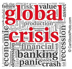Global crisis concept on white