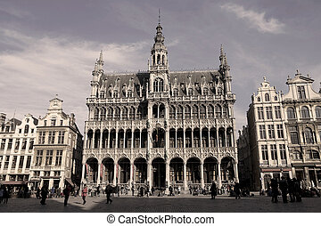 Grand Place de Bruxelles, the Central Square in Brussels,...