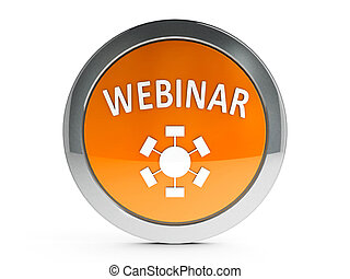 Orange webinar icon with highlight - Orange webinar emblem...