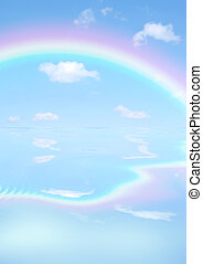 Rainbow Day - Fantasy abstract of double rainbows against a...