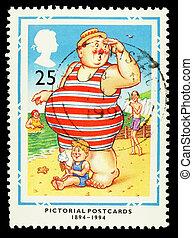 Britain Seaside Postcard Postage Stamp - UNITED KINGDOM -...