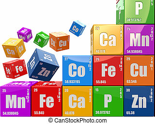 Chemistry concept Wall from cubes wiyh periodic table of...