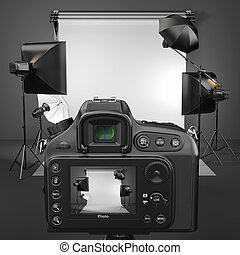 Digital photo camera in studio with softbox and flashes. 3d