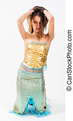 Young beautiful mermaid - Young beautiful woman in mermaid...