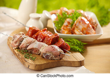 marinated meat for grill, pork and chicken kebab