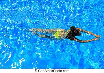 natación, mujer, piscina, Traje de baño
