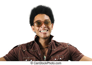 Crazy retro afro - Portrait of young african man with retro...