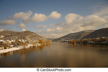 Neckar at winter, river in Heidelberg, Germany